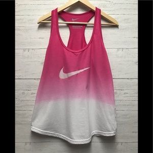 Nike women's ombré pink white tank top medium